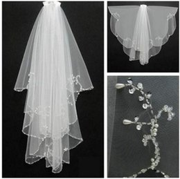 Wholesale Ivory Beaded Wedding Veils - Elegant In Stock White Short Bridal Veils Beaded Edge Wedding Veils Voile De Mariee Head Veils