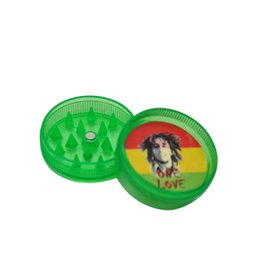 Wholesale Mini Herb - 48ps lot 2 Parts 30MM MINI Acrylic Hard Plastic tobacco Herb Grinder Reggae Grinder Jamaica BOB Marley Tobacco Grinder