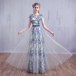Wholesale Blue White Dress Porcelain - 2016 New Evening Dress Fashion Bride Banquet Lace Long Party Gown Elegant Blue and White Porcelain Embroidery Long Prom Dresses
