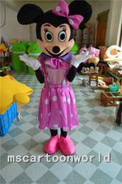 Wholesale Minnie Mouse Costumes For Adults - High quality Minnie Mouse cartoon costumes for Halloween party supplies adult size mascot free shipping