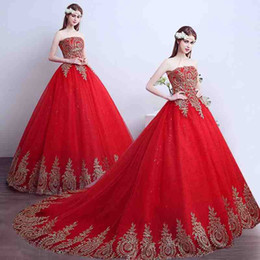 Wholesale Trailing Sequin - Brand New Fashion Red A-Line Wedding Dresses Women Sexy Strapless Embroidery Lace-up Floor-length Trailing Bridal Gown Dresses Free Shipping