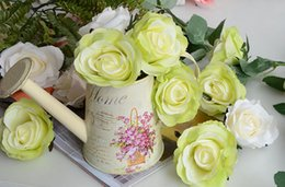 Wholesale Fake Flower Crafts - 20pcs decorative Artificial Silk Flower Rose Heads 8cm for Wedding party Decoration DIY Wreath Gift Box Scrapbooking Craft Fake Flowers