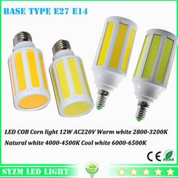 Wholesale E27 Led Corn Natural White - LED COB corn light E27 E14 bulb lights 220V 12W bulbs warm white natural white cool white indoor lighting