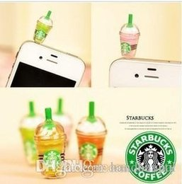 Wholesale Iphone 4s Starbucks Dust Plug - Wholesale Hot! 600PCS Lot 3.5mm StarBucks Cup Anti Dust Cap Charm Plug Earphone Jack Dustproof Cover for iPhone 4 4S 5 RJ1507 0416dd