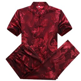 Wholesale Mandarin Suits - Wholesale-Silk Shirt Dress Pant Suits Men Red Dragon Shirts Summer Chinese Men Costumes Mandarin Collar Tops Plus Size Kung Fu Clothing