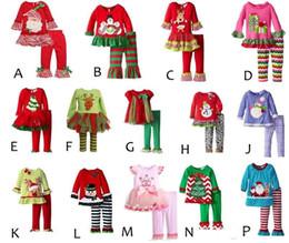 2019 bebé traje de navidad Conjunto de alces de Navidad para bebés Camiseta estampada de dibujos animados de Navidad + Conjunto de pantalones con volantes Conjunto de pantalones de lunares para bebés Conjunto de pantalones a rayas Ropa de diseñador para niños bebé traje de navidad baratos
