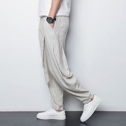 Wholesale Pleated Pants Style - Wholesale-Chinese style linen men's casual pants 2016 summer thin breathable comfort male loose harem pants plus size M-4XL,A90