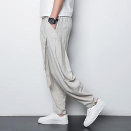433ba282262 Wholesale-Chinese style linen men's casual pants 2016 summer thin breathable  comfort male loose harem pants plus size M-4XL,A90