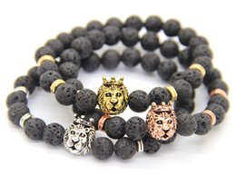 Wholesale Men Lion Head Chain - 2016 Hot Sale Men Gift Jewelry High Quality 8mm Lava Stone with Antique Silver&Gold Crown Lion Head Bracelets, Wholesale
