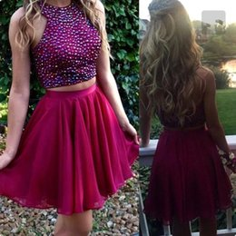 Wholesale Sexy 18 Image - 2017 Fuchsia Two Piece Beaded Homecoming Dresses Halter Short Mini Graduation Dresses For Sweet 16 18 Prom Party Gown Custom Made