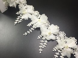 Wholesale Fabric Trimming Beads - 15 Yard White Pearl bead Flower chiffion Lace Fabric Trim Ribbon For DIY Bridal wedding Doll Cap Hair clip