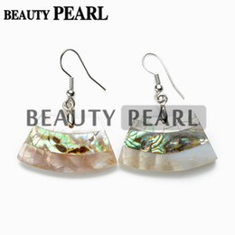 Wholesale Fancy Pearl Earrings - Silver Plated Fancy White Shell with Paua Abalone Shell Earrings for Ladies Unique Jewelry Natural Abalone Shell Stone