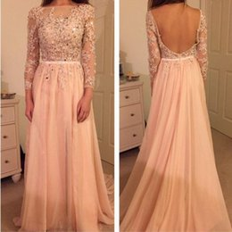 Wholesale Light Shirts China - Couture Peach Evening Dresses Backless Applique Lace Beaded Sash Long Sleeve Evening Gowns Lebanon Chiffon Prom Dresses Imported China