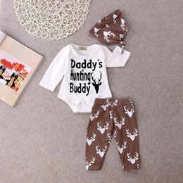 Mikrdoo Hot Christmas Suits Adorable Baby Boy Girl Romper Deer Grey Pants  Hat 3pcs Clothes Outfits 0-18M Daddy s Hunting Buddy Printed Sets adorable  baby ... b80991bed31f