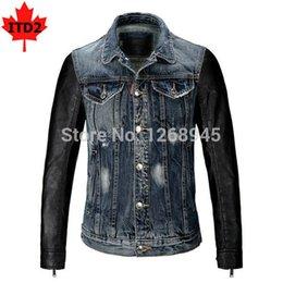 Wholesale Motocycle Jacket Leather Men - Fall-Splice Denim Leather Jacket Fashion Motocycle Coat Splice Remiendo De La Manera De La Chaqueta