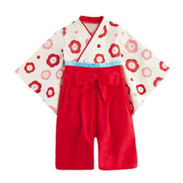 Wholesale Japanese Clothing Kimono - Retail Spring Autumn Cute Baby Girls Japanese Kimono Rompers Infants Children Floral Long Sleeve Clothing Kids Jumpsuits