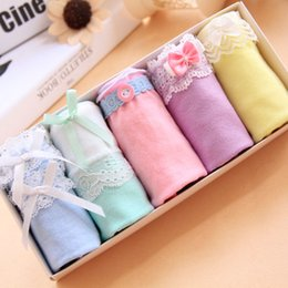 Wholesale Cute Panties - 2016 Hot Sale new style lady lace panties cartoon cute bow grid Christmas gift Free shipping