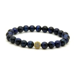 Wholesale Pave Link Chain Wholesale - 10pcs lot 8mm A Grade Blue Tiger Eye Stone Beads Bracelets Micro Paved Blue Cz Ball Beaded Jewelry Gift For Friend And Family
