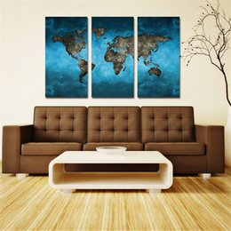 Wholesale Oil Paintings Maps - 3 Panels Blue Map Landscape Paintings HD Vintage Antique Canvas Printed on Modern Canvas Piece Wall Art Home Decoration Unframed