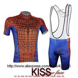 Wholesale Spiderman Short Sleeve Cycling Jersey - Hot Spiderman CyclingS Jersey Suits 2015   Mens Short Sleeves Bike Jersey And Bib Short   Spiderman Cycling Clothing (Red Blue)