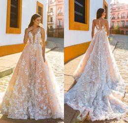 Wholesale Embellishments Lace Appliques - Elegant Crystal Design 2018 Bridal Sleeveless Straps Deep V Neck Full Embellishment A Line Wedding Dresses Sheer Back Court Train