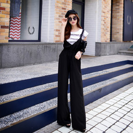 Wholesale Doll Overall - Pink Doll Women High Waist Straps V Neck Wide Leg Casual Black Overalls Trousers