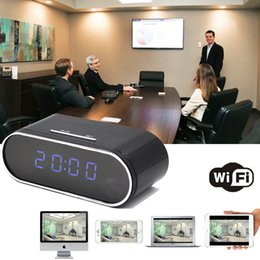 Wholesale cctv function - Portable HD Wireless Security Camera DVR Clock CCTV Wirless Camera With WIFI Function Wide Angle Video Remotely Monitoring by IMINICAM APP