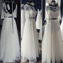 Wholesale Sleeves For Wedding Dresses - 2017 Two Pieces Boho Bridal Gowns For Beach Bride Elegnat Bateau Rural Lace Short Sleeve Wedding Dresses Layered Skirts Low V Back