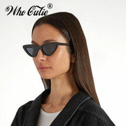 Wholesale Cool Frame - WHO CUTIE 2018 Triangle Small Cat Eye Sunglasses Cool Women Fashion UV400 Ocean Film lens Cateye Frame Sun Glasses Shades WG-008