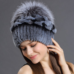 c688ac5573a Winter Hats Rabbit Fur Beanies Headgear For Women With Fox Fur Luxury Ball  Flower Cap Women s Customized Hat Beanie
