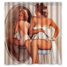Vente en gros - jolie fille nue devant le miroir Art rideaux de douche toile style de peinture imperméable anneaux de tissu de polyester inclus ? partir de fabricateur
