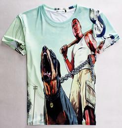 Wholesale t shirt chain - tshirt Newest style Men women 3d t-shirt funny print a man holding Dog Chain short sleeve casual t shirt Tops Asia S-XXL 1866
