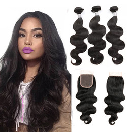 Wholesale Thick Brazilian Hair Bundles - Brazilian Hair Weaves Body Wave With Lace Closure Thick Bundles 3 Bundles With Closure Best Quality Brazilian Virgin Hair Extensions