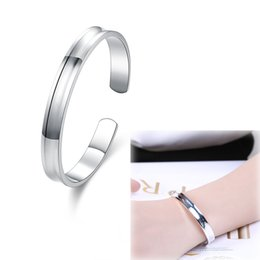 Wholesale Wholesale Brass Cuff Bracelets - 925 Sterling Silver Plated Jewelry 1837 Smooth Small Open Bangle-no Words Fashion Simple Shiny Mirror Metal Surface Slim Bangle Bracelet
