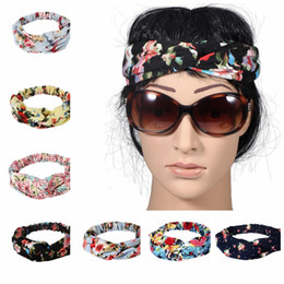 Wholesale Turban Wholesale - Twist Turban Floral Headband Prints for Women Stretch Hairbands Sport Headbands Yoga Headwrap Bandana Girls Hair Accessories KKA2680