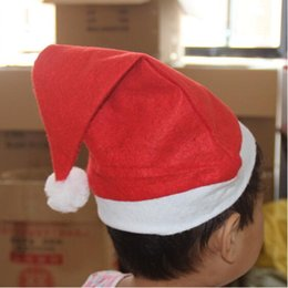 Wholesale Cheap Hat Decorations - Christmas Hats Party Santa Hats Red And White Cap Cheap Santa Claus Hat For Santa Claus Costume Christmas Decoration For Kids Adult