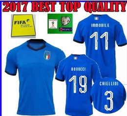 Wholesale Italian Cup - Top Quality 2018 Italian Soccer Jersey World Cup National Team Home CANDREVA CHIELLINI Home EL SHAARAWY BONUCCI INSIGNE BERNARDESCH