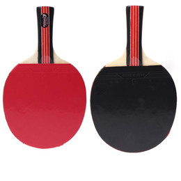 Wholesale Shaking Table - Wholesale-Black Red Long Handle Shake-hand Table Tennis Racket 7-layer Wood Pingpong Paddle with Waterproof Carry Bag Pouch