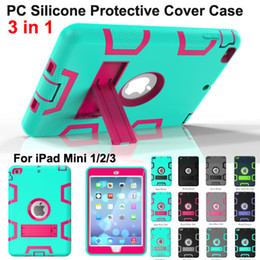Wholesale hybrid case for ipad - Shockproof Protector Case 3 in1 Robot Defender Robot Hybrid PC+Silicon Kickstand Stand Screen Protector Back Cover Case For iPad Mini 2 min3