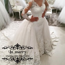 Wholesale Indian Wedding Gown Straps - 2017 Fall Plus Size Mermaid Overskirts Wedding Dresses Detachable Train Vintage Lace Long Sleeves Beaded Muslim Indian Spanish Bridal Gowns