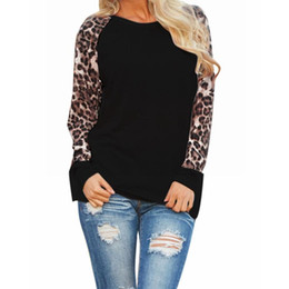 Wholesale Patchwork Blouses - Blouses 2016 Fashion Women Casual Shirts Tops Spring Autumn Long Sleeve Leopard Chiffon Patchwork Casual Blusas Femininas
