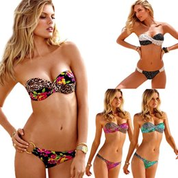 Wholesale Leopard Print Bathing Suit - PrettyBaby 2016 Hot Bathing Suit Print Leopard And Flower Swimwear Underwire Strapless Bikini Bandeau Swimsuit Push Up Beach
