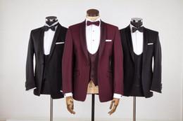 Wholesale Men Evening Suit Pants - Wholesale-New Style Groom Tuxedo Groomsmen Shawl Satin Lapel Wedding Dinner Evening Suits Best Man Bridegroom (Jacket+Pants+Tie+Vest) B87