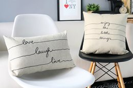 Wholesale Handmade Things - Free shipping novelty gift simple live love laugh enjoy the little things warm words pattern cushion cover home decorative throw pillow Case