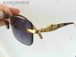 Wholesale Metal Butterfly Boxes - 2017 New Arrival Women Classic Brand Designer Rimless Sunglasses Men Gold Silver Metal Frame Buffalo Horn Sun Glasses with box