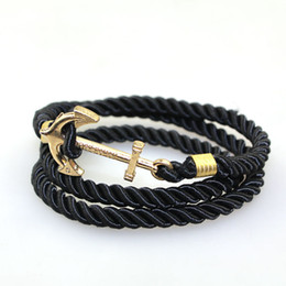 Wholesale Wholesale Vintage Bangles - 2016 Fashion Vintage Jewelry weave Wrap Multi Layer Anchor Bracelet Infinity bracelet Wrap Rope Charm Bangle For Men And Women