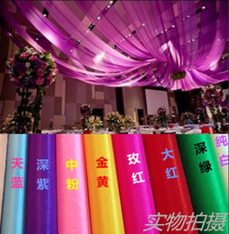 "Wholesale Sheer Fabric For Wedding Draping - 59"" w* 30' L (1.4m W* 100 m L) Colorful Sheer Ice Silk Ceiling Drape Fabric for Wedding Party Decoration"