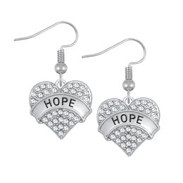 Wholesale Words Earrings - Heart Shape Drop Earrings With Clear Crystal Zinc Alloy Rhodium Plated Carve Word HOPE Wholesale 30 pcs lot