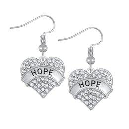 Wholesale Dangling Clear Rhinestone Earrings - Heart Shape Drop Earrings With Clear Crystal Zinc Alloy Rhodium Plated Carve Word HOPE Wholesale 30 pcs lot