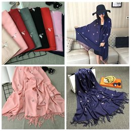 Wholesale Bird Wrap - Flamingo Bird Embroidery Women Cashmere Scarf Luxury brand designer scarf Hot crane Long Shawl Winter warm scarves pashmina shawl YYA446